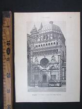 1891 BERGAMO CAPPELLA COLLEONI SANTA MARIA MAGGIORE LOMBARDIA ANTICA STAMPA D434