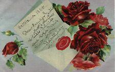 VINTAGE POSTCARD. RED ROSSES. 1907.