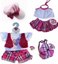 Teddy Bear Clothes fits Build a Bear 2 x Outfits + FREE Candy Check Hat & Bag