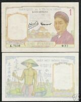 FRENCH INDO CHINA 1 PIASTRE P54 C or D 1946 BUFFALO AUNC VIETNAM MONEY BILL NOTE