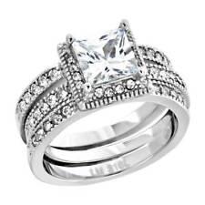 Women's Stainless Steel Princess Cut AAA Cubic Zirconia Wedding Ring Set 2.05 Ct