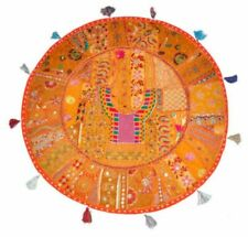 Round Ottoman Embroidered Seat India Cushion Cover