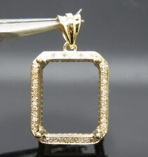 0.56ct Emerald 11×14mm Solid 18K Yellow Gold Natural Diamond Semi Mount Pendant
