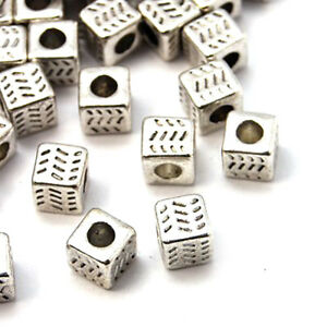 50pcs Tibetan Alloy Cube Metal Beads Carved Antique Silver Loose Spacers 4.5mm
