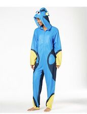 Disney Women's Blue Finding Dory Hooded Sleeper Fish Union Suit Pajama Size Smal