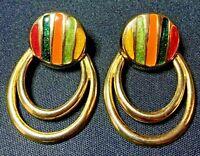 Beautiful Unique Estate Vintage Gold Tone Enamel Earrings Pierced Ear Untested