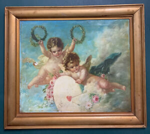 Large Antique Russian Oil On Board Painting In Gold Gilt Frame