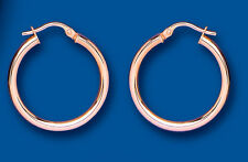 Rose Gold Hoop Earrings Red gold Creole Hoops Plain 25mm hallmarked