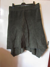 Dark Olive Green D Perkins Long Suede A Line Skirt in Size 14