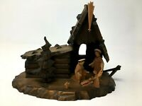 Vintage Reuge Carved Wood Nativity Music Box Switzerland Musical