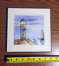 Vintage Lighthouse Tile - Handpainted Porcelains by Pauline - Dated 1979 *1118