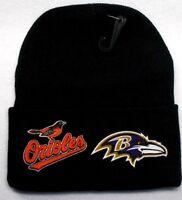 READ ALL!Baltimore Orioles/Ravens Heat Applied Flat Logos on Beanie Knit Cap hat