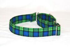 """1"""" Small (whippet) Martingale Dog Collar Green and Blue Plaid"""