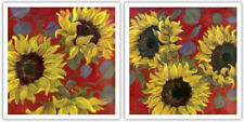 Sunflowers I & II by Shari White~Set 2 Modern Vibrant 13 X 13 Floral Art Prints