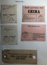 5 England Traveling Post Office Labels & Tags