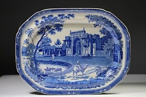 Rogers Blue White Staffordshire Transferware Gate Leading to a Musjed at Chunar