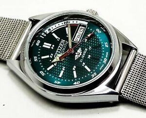 Vintage Used Citizen Automatic 37 MM Green Dial Men's Wrist Watch