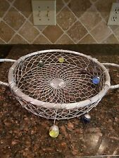 Handcrafted Original Dary Rees Large Metal Jeweled Basket --- silver with stones