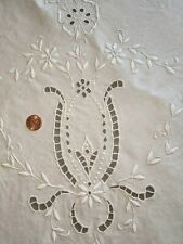 Vintage Linen Italian Embroidered Tablecloth with Cutwork Lace - S33