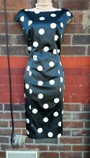 COAST Black white Polka Dot Pencil Wiggle bodycon Sexy Dress UK 14 monochrome