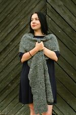Hand knit alpaca shawl, Long chunky knitted scarf, Women's mohair wool stole