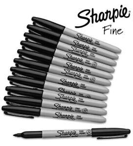 GENUINE Original Sharpie Black Marker Pens Fine Bullet Tip Permanent Markers