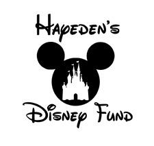 Personalised Disney Fund Vinyl Decal Sticker Money Box Ribba Frame Gift Saving