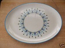 Vintage Made in America White China Platter with Blue and Green Leaf Design