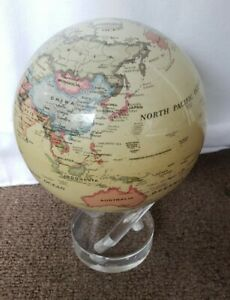 "RARE  MOVA 4.5"" Antique Beige Revolving Globe Great shape!"