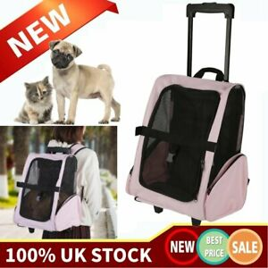 PET TRAVEL CARRIER BACKPACK BAG DOG PUPPY CAT TROLLEY STROLLER WHEELS DURABLE