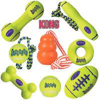 KONG Airdog Squeak Ball Air Dog Rope Fetch Stick Football Dumbell Yellow Aqua
