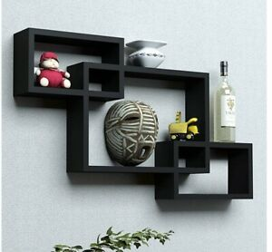 Intersect wall shelf, wooden wall shelf set of 3 (Black)