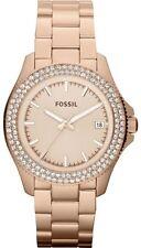 Fossil Steel Rose Gold Metro Traveler Crystals Date Women Watch 40mm AM4454 $145