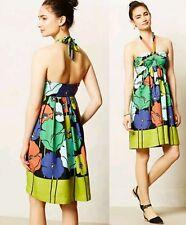 Anthropologie James Coviello sz M Petite Multi Color Floral Summer Halter Dress