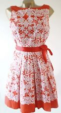 Red Herring Blanco Naranja Verano Fiesta Vestido Patinador cotidianos Talla 14