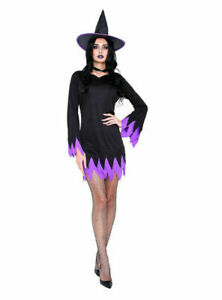 Adult Womens Sexy Witch Hocus Pocus Purple Fancy Dress Halloween Ladies Costume