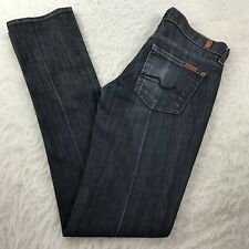 7 for all Mankind Roxy Skinny Jeans Women's Sz 26 Dark Wash Low Rise 30x33