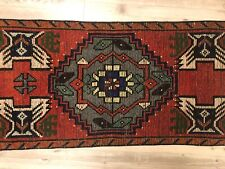 Red Nomadic Turkish Handmade Small Rug, Antique Faded Aztec Mini Floor Rug