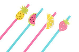 Funky Aloha! Fruit Paper Straws - Pack of 12- Cocktails - Party