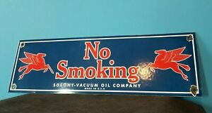 VINTAGE MOBIL GASOLINE NO SMOKING PORCELAIN PEGASUS SERVICE STATION PUMP SIGN