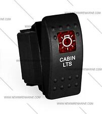 Labeled boat Marine Contura II Rocker Switch Carling lighted, Cabin Lts RED Lens