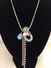 BETSEY Johnson Throwback Betsey Gold Lucky Horseshoe,Lotus Charm Necklace