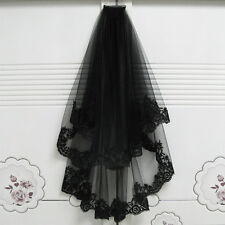 2T Black Lace Mantilla Cathedral Birdcage Wedding Bridal Gothic Veil with Comb