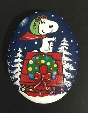 Hand painted river rock art stone painting Snoopy Christmas red baron snow trees