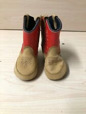 OLD WEST  LEATHER COWBOY BOOT TODDLER BOYS RED  BROWN SIZE 2