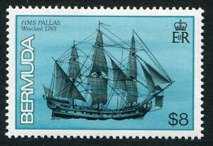 Weeda Bermuda #498 MNH 1986 issue $8 Shipwrecks HMS Pallas 1783 CV $24.00