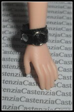 JEWELRY BARBIE DOLL HARD ROCK  FAUX LEATHER BLACK WRIST BAND ACCESSORY DIORAMA