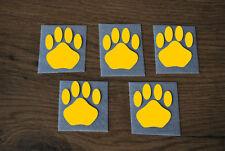 5 Stück Pfoten Goldgelb Samt Flock Applikation aufbügeln Flicken Aufnäher Patch