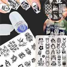 6Pcs/Set Nail Art Stamping Plates Owls Image Stamp Template W/Stamper Scraper