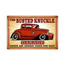 Busted Knuckle Garage Repair Despair Hot Rot Retro Sign Blechschild Schild Groß
